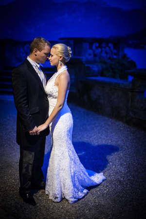 wedding night: Newly married couple at night