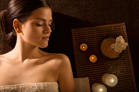 Young girl in spa salon Stock Photo