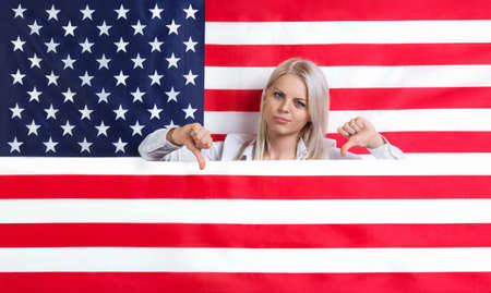 failed politics: Young beautiful girl with American flag
