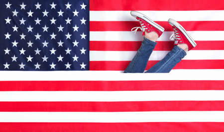 Womens legs and the American flag photo