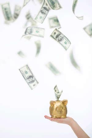 flying money: Flying money from piggy bank