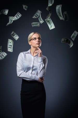 Young girl with money photo