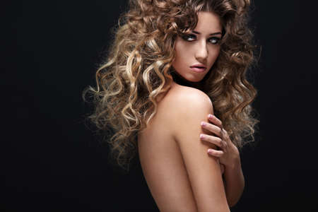 naked body: Young girl with makeup and hairstyle