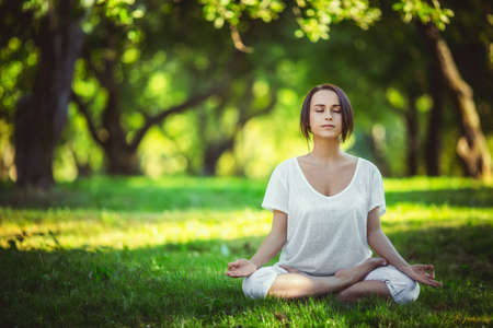 Young girl doing yoga in the park Stock Photo - 35873602