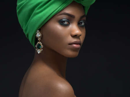 turban: Beautiful african woman in the studio
