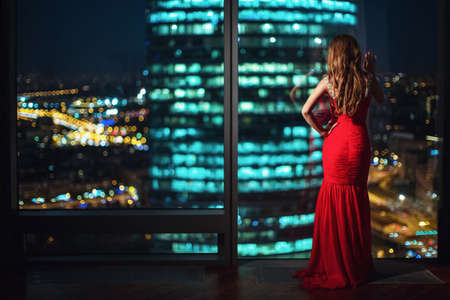 girl in red dress: Beautiful young girl in a red dress