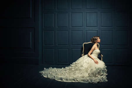 black princess: Beautiful girl in a white dress Stock Photo