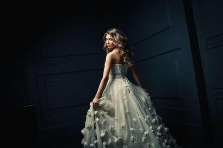 cinderella dress: Young girl in studio