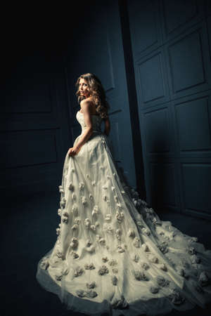 cinderella dress: Beautiful young girl in a white dress