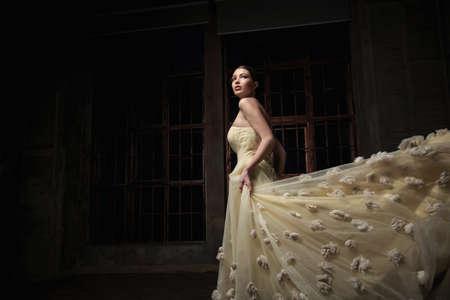 cinderella dress: Beautiful girl in the studio Stock Photo