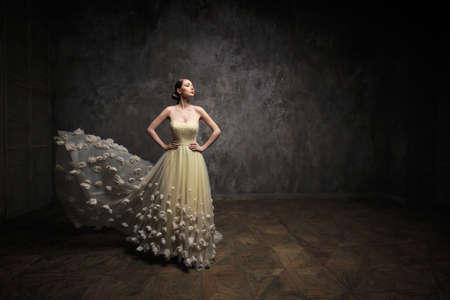 beautiful cinderella: Beautiful girl in the studio Stock Photo