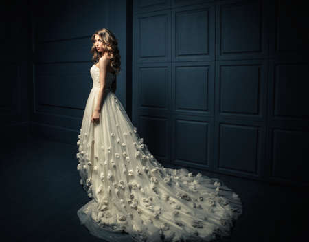 cinderella dress: Young beautiful girl in a white dress Stock Photo