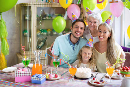 children birthday: Families with a child at a birthday party