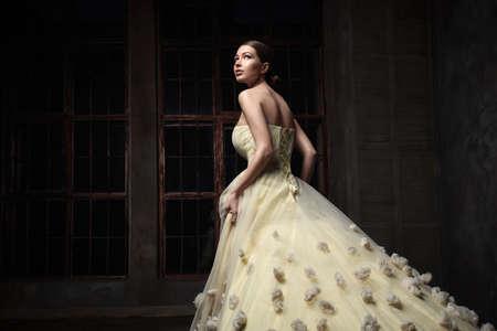 cinderella dress: Young beautiful girl in studio