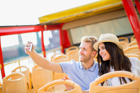 self discovery: Young couple making selfie