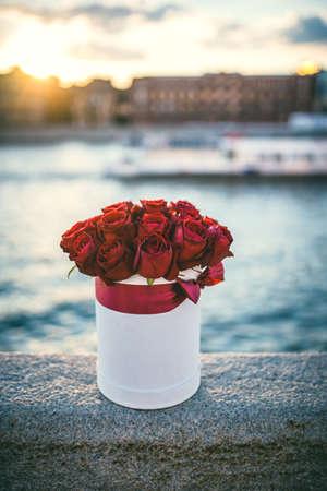 rosas rojas: Hermoso ramo de flores en la puesta del sol Foto de archivo