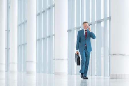 businessman phone: Smiling businessman with briefcase in office Stock Photo