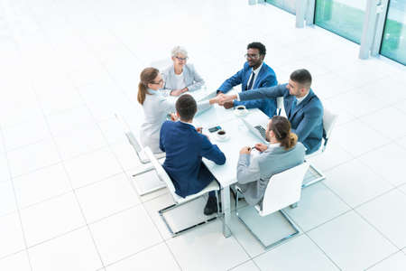 above head: Meeting business people in office Stock Photo