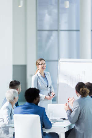 office presentation: Business people at meeting in office Stock Photo