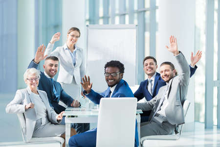 Business people at presentation in office photo