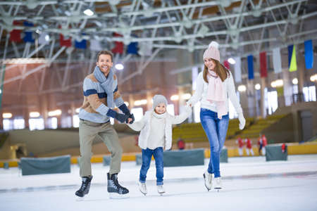 Active family at ice rink