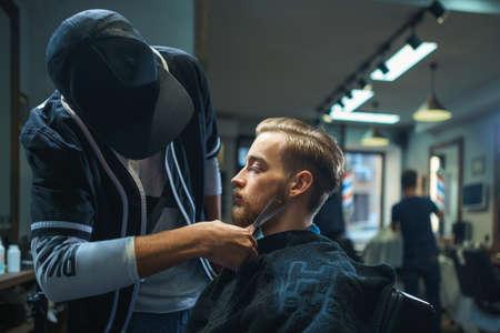 barber shop: Hipster in barber shop Stock Photo