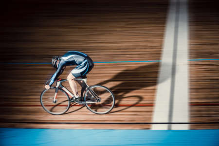 velodrome: Cyclist finishes on velodrome Stock Photo