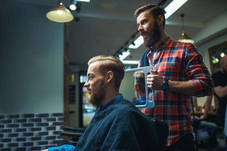 barber shop: Attractive man in barber shop