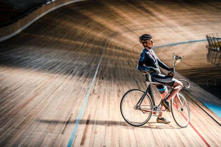 velodrome: Young athlete on velodrome