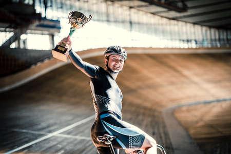velodrome: Happy athlete on velodrome