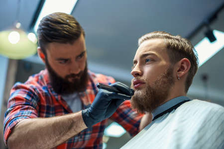 barber shop: Working man in barber shop Stock Photo
