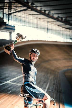 velodrome: Smiling athlete on velodrome