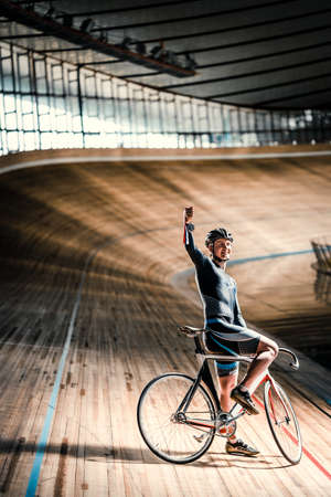 velodrome: Young sportsman on a velodrome Stock Photo