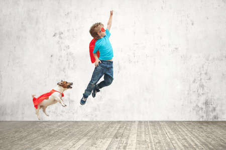 Little hero with dog indoors