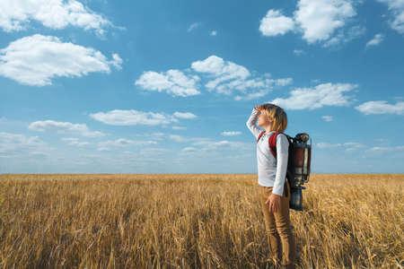 Little boy in a field Stock Photo