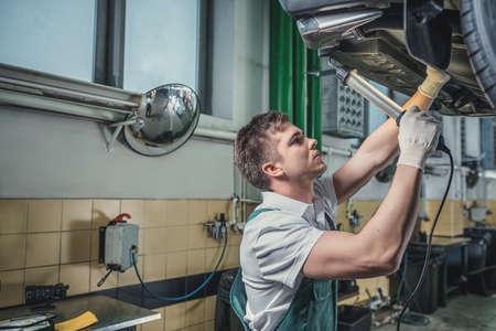 Working man in garage