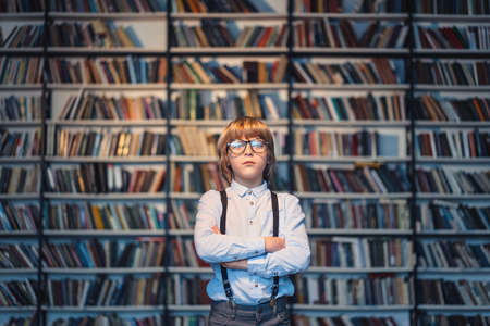 Little boy in a library photo
