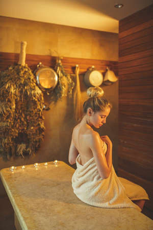 Attractive woman in spa