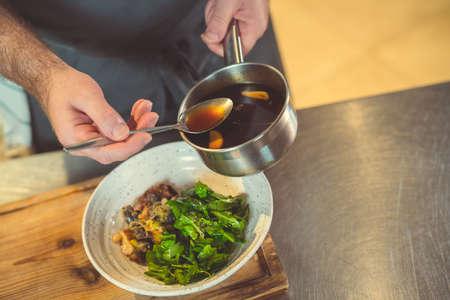 Chef preparing close up indoors Reklamní fotografie