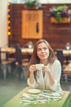 Attractive woman in a cafe