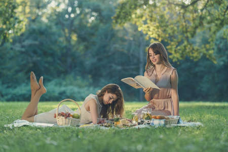 Young attractive women in the park