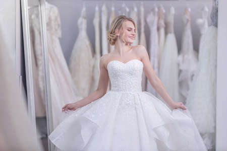 Attractive young girl in wedding dress Stok Fotoğraf