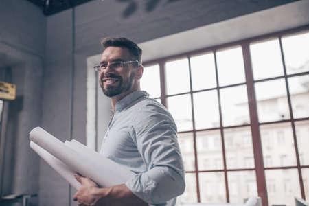 Smiling engineer in studio Reklamní fotografie