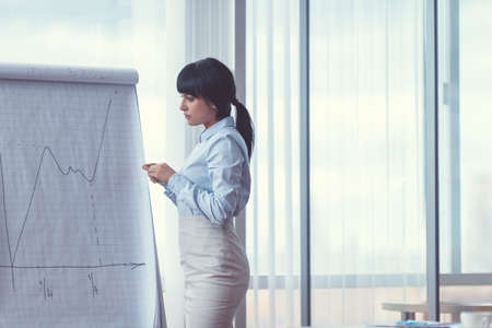 Young businesswoman with a flipchart