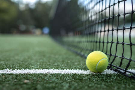 Yellow tennis ball at the net on the court Stock Photo