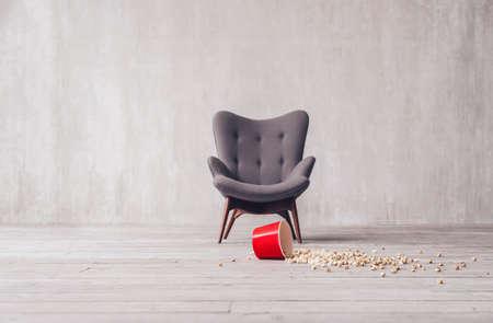 Scattered popcorn in the cinema