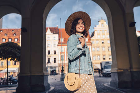 Happy attractive girl in Wroclaw