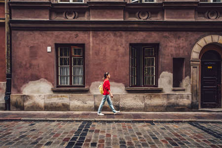 Young tourist walking in Poland