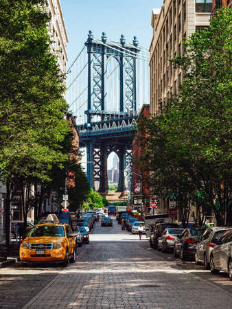 Famous Manhattan Bridge in New York City Zdjęcie Seryjne - 115812262