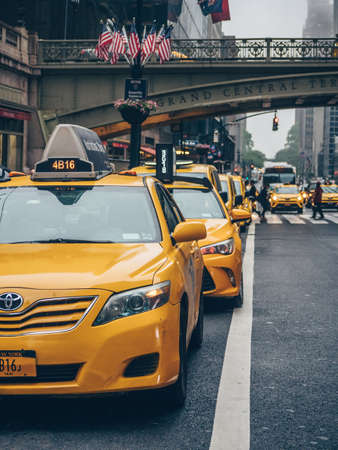 Yellow cabs on the streets in USA Stock Photo